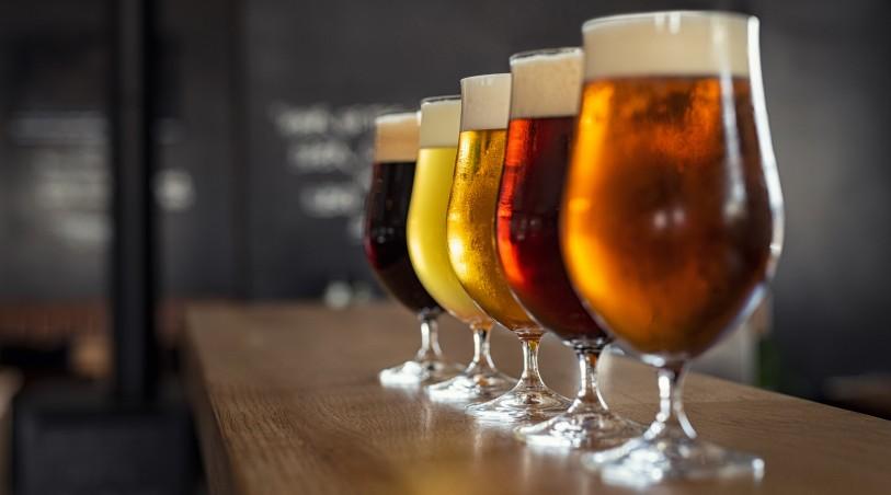 Copos com vários estilos de cervejas