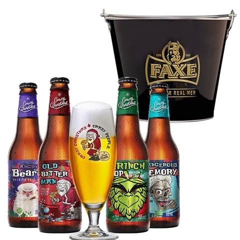 Cervejas do Beer Pack com balde de gelo ao lado.